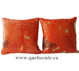 18' Grand coussins en peau de vache orange et or. 100339