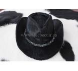 100% Chapeau Western en peau de vache noir. 100497