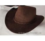 100% Chapeau Western en cuir brun. 100507