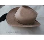 100% Chapeau Western en cuir beige. 100508