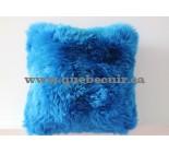 16' Coussin en peau de mouton bleu. 100862