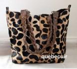 Big Cowhide Handbag Animal Print. Color Leopard. Code 14406