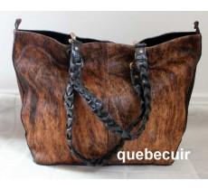 Cowhide Handbag Brown. 100% Leather Code 14407