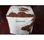 20' Pouf en peau de vache Acid wash argent, brun et blanc. 650342