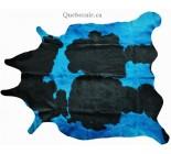770057  cowhide rug tapis peau de vache BLUE BLEU
