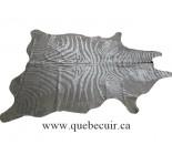770065  cowhide rug tapis peau de vache SILVER  METALLIC ZEBRA ARGENT
