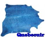 A 10019  Cowhide rug Tapis peau de vache BLUE  Collection Quebecuir Premium
