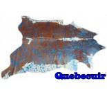 A 10035  Cowhide rug Tapis peau de vache METALLIC BLUE    Collection Quebecuir Premium