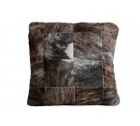 27' Cowhide Pouf Beige Gray White And Brown